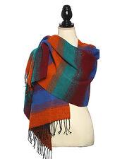 Acrylic Stripe Pattern Boucle Scarf Scarves Shawl Fringe Trim Wrap Winter  Blue