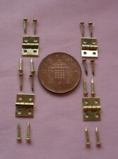 4( FOUR )  1/12 DOLLS HOUSE 10mm x 8mm MINIATURE BRASS HINGES AND NAILS