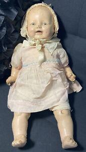 "Vintage Toy Human Baby Doll Child Eye Lids Open & Close 21"" Creepy Hard_8s_Magic"