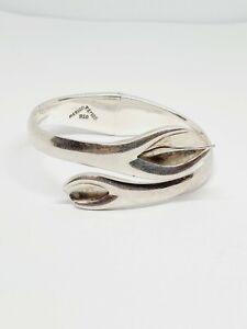 "Vintage 950 Sterling Silver 44gr Calla Lily Bypass Bracelet 6.5"" (98)"