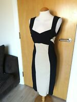 Ladies STAR JULIEN MCDONALD Dress Size 14 Black Cream Wiggle Pencil Party