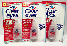 3 PACK CLEAR EYES DROPS REDNESS RELIEF DRY EYES 0.2 OZ .6 ML LOT Packs EXP. 2019