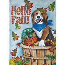 "Hello Fall Dog 12.5"" X 18"" Garden Flag 11-2140-94 Rain Or Shine Fall Seasonal"