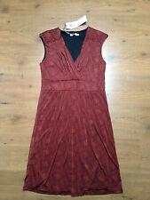 MODISSIMA Italian Orange & Black 70's Optical Illusion Print Dress BNWT S:L