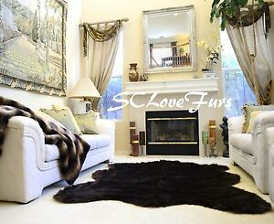 "58"" x 72"" Chubby Sheepskin Large Faux Fur Rug Black Shaggy Plush Fur Carpet"
