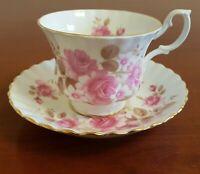 Vintage Royal Albert Tea Cup Teacup Saucer Set Pink Roses Gold Trim Bone China