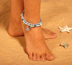 Turtle Elephant Ankle Boho Bracelet Adjustable Beaded 2 Layer Anklet