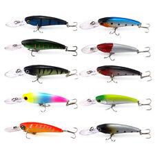 10Pcs 3.54'' Minnow Fishing Lures Crankbaits Hooks Baits Bass Tackle 9cm 7.06g