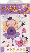44 GIRLS PINK PRINCESS MAGICAL FAIRY QUICKSTICKS WALL ART DECOR STICKER BORDER