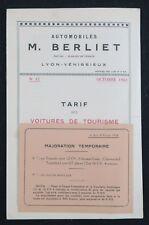 Brochure Automobile BERLIET tarif 1923 voiture tourisme automobilia