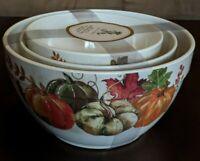 Set of 3 Serving Mixing Bowls Rachel Ashwell Pumpkin Fall Thanksgiving *Melamine