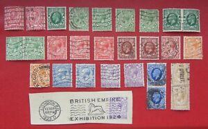 1911-1912-1934  Great Britain VERY FINE USED STAMPS.Varieties! 1/2 PARA WMK S/W
