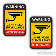 2 x CCTV CAMERA WARNING CAR WINDOW OFFICE WORKSHOP SECURITY STICKERS