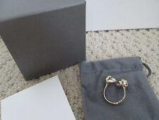 NIB Auth Alexander McQueen Twin Skulls Gold Tone Bypass Ring Sz 15 US 7 $195