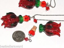 Glass Red Rose Lampwork Flower oil perfume Christmas Bottle pendant w/ Necklace
