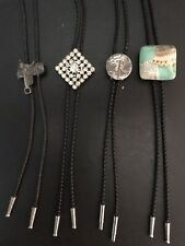 Lot Of (4) Vintage Leather Bolo Tie