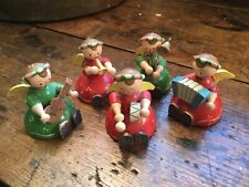 Vintage Italy Set of 5 Hand Painted Wood Christmas Angels Playing Instruments