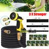 Flexible 25 50 75 100 FT Expanding Garden Water Pocket Hose Spray Nozzle Car Blk