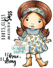 New La La Land Crafts COWBOY BOOTS MARCI Cling Rubber Stamp Girl Country Howdy