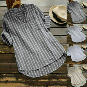 UK Plus Size Womens Summer Striped V Neck Blouse Baggy Tops Ladies Tunic T Shirt