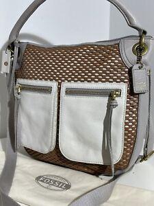 FOSSIL KARLI PERF LEATHER HOBO SADDLE HANDBAG SHOULDER BAG LARGE RRP $248 NEW!!!