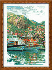 South Pier Boats In The Harbour Premium Counted Cross Stitch Kit Riolis