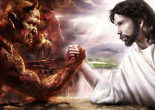 A3 Poster - Jesus and the Devil Arm Wrestling (Biblical Bible God Picture Art)