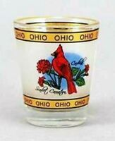 OHIO BIRD FLOWER GOLD SHOT GLASS SHOTGLASS