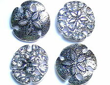 4-2 HOLE SLIDER OR CONNECTOR SILVER PLATED SAND DOLLAR CLEAR CRYSTAL STUDDED