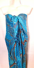 Paréo Drap de Plage Bain Mer Sarong Beach Cover Up Wrap Skirt bleu blue