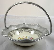 Farber Shlevin Aluminum Basket with Floral Insert Bowl Brooklyn NY Vintage