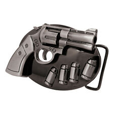 Black Chrome Revolver Pistol Spinning Cylinder Belt Buckle Guns Weapons 9 Hip