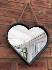 Large Heart Shape Mirror Metal Edge Rope Hanging Loop Industrial Shabby Style
