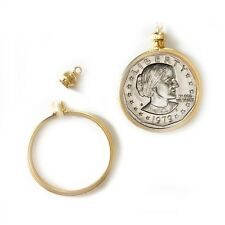 Coin Holder Bezel Susan B Anthony Dollar Gold tone charm necklace pendant Pk/2