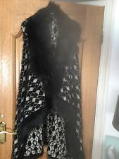 Ladies  Black Fur Trim With White Design