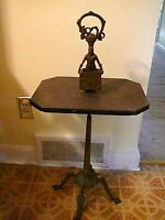 Antique 1928 Bloch Smoke Stand Table Bronze Iron Marble Ornate Match Holder