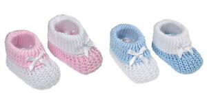 Baby Girls Boys Newborn Bow Knitted Booties Soft Shoes  Pink, Blue, White, Grey