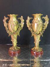 Paire Cassolettes Bronze XIXEME, Anciennes Socle Marbre