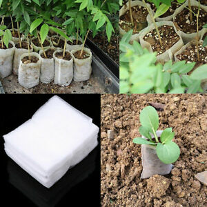 100Pcs White Plant Bag Small Plant Nursery Nonwoven Fabrics Gardening Rhl2CQ