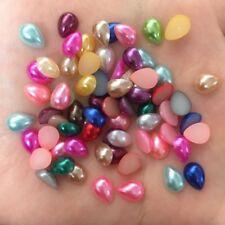 200pcs Rainbow Mix 6*8mm Drop pearl  Flatback beads child scrapbook wedding DIY