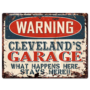 PPFG0545 WARNING CLEVELAND'S GARAGE Tin Chic Sign Home man cave Decor Funny Gift