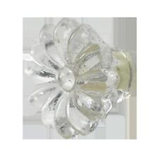 AS MANY* SHABBY CHIC 3.5CM GLASS CLEAR FLOWER DOOR KNOBS/HANDLES/PULLS
