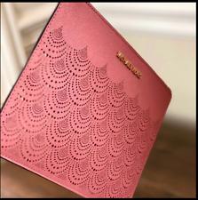 MICHAEL KORS jet set travel XL rose saffiano leather clutch / wristlet-NEW