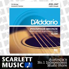 D'Addario EJ38 10-47 12-String Light Phos. Bronze Guitar Strings Daddario EJ-38