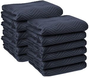 """Moving Blankets (12 Pack) 72x80"""" 65lbs Econo Professional Quilted Pads Black"""
