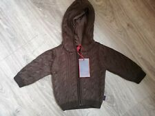 BNWT PAUL SMITH JUNIOR Brown Cable Knit Hoodie Cardigan 6 Months Warm Designer