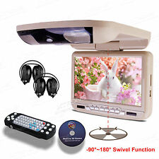 "Beige 9""HD Car CD DVD Player Flip OverHead Roof Mount Monitor FM Game IR Headset"