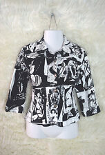KAKTUS XL Black White Picasso Button Down Wearable Art Career Jacket