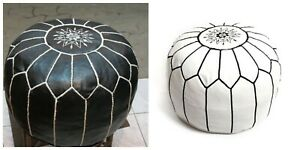 MOROCCAN POUF OTTOMAN (unstuffed) High Leather Quality White & black stitching