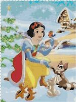 Christmas with Snow White DIGITAL Counted Cross-Stitch Pattern Needlepoint Chart